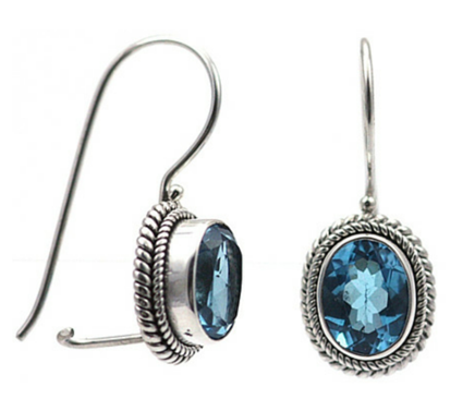 Blue Topaz with rope border and hook closure Indiri E029BT