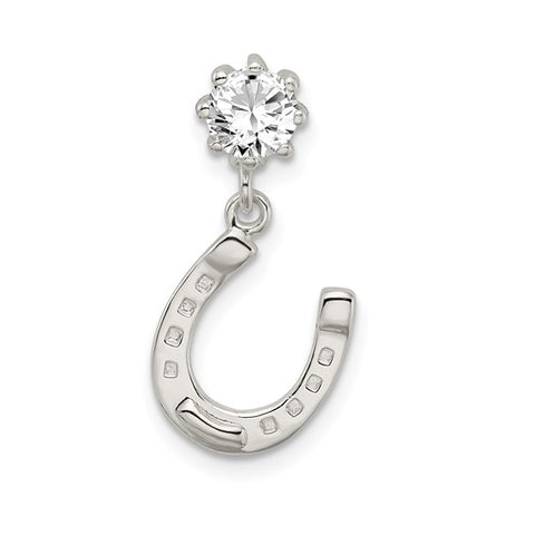 Horseshoe and CZ Pendant