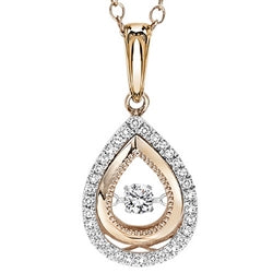 14k white and rose gold diamond pendant