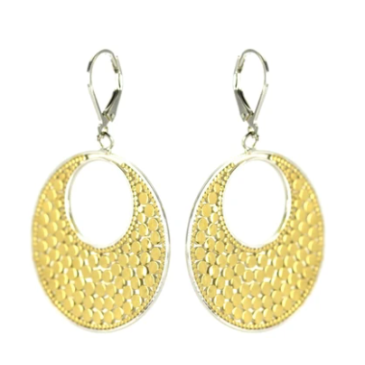Textured Two-Tone Circle Earrings