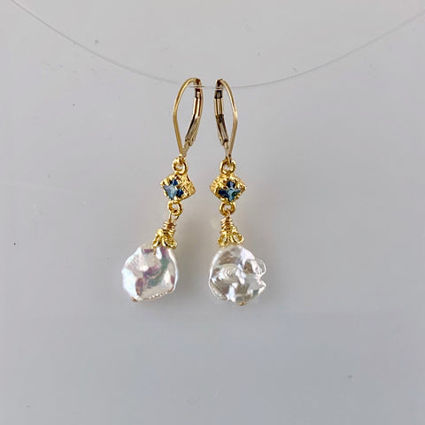 Anna Keshi Pearl and Topaz Earrings