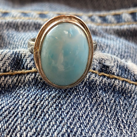 Larimar bezel set ring