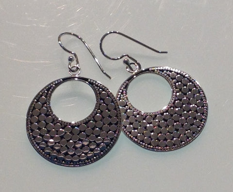 Hand Made Textured Sterling Circle Earrings