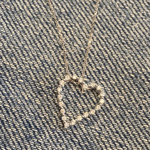 Petite open heart diamond pendant