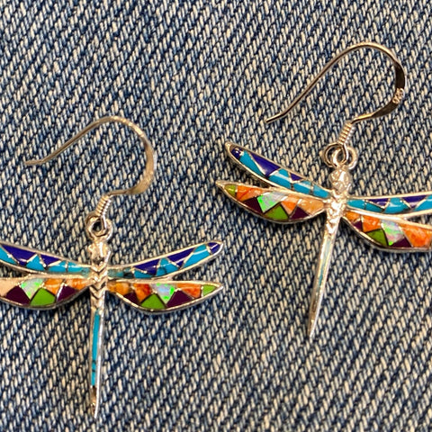 Multi stone inlaid dragonfly earrings