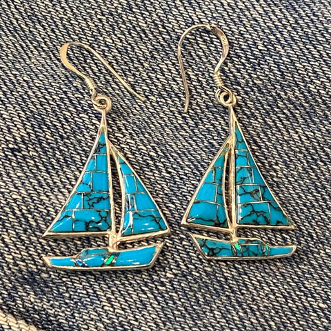 Inlaid Turquoise and Opal Sailboat Earrings