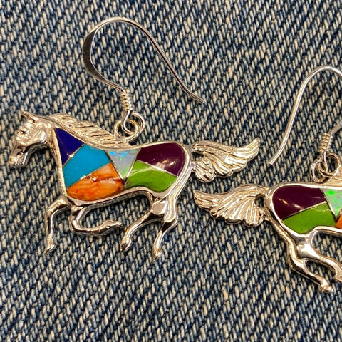 Inlaid Gemstone horse earrings