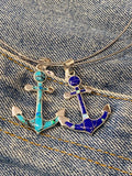 Turquoise and Inlaid Opal Anchor Pendant
