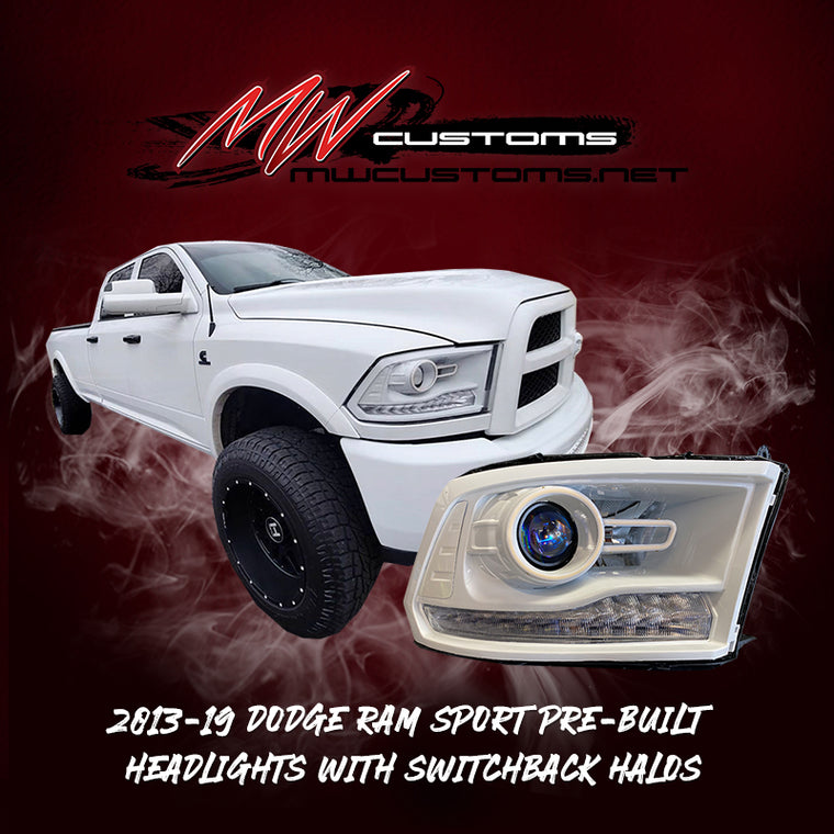 PRE-BUILT 2013-18 Dodge Ram OEM Projector Headlights With Switchback Halos - MwCustoms