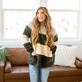Green Striped Fleece Comfy Top - Arrow Twenty Two