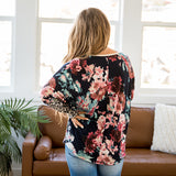 NEW! Dana Navy Floral and Leopard V Detail Top - Arrow Twenty Two