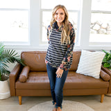 NEW! Myla Navy Floral and Stripe Hooded Sweater - Arrow Twenty Two