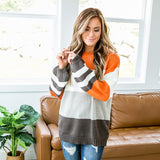 McKenna Rust and Chocolate Striped Sweater - Arrow Twenty Two