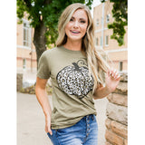 Olive Leopard Pumpkin Tee - Arrow Twenty Two