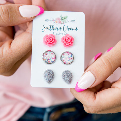 NEW! Pink Roses, Pink Floral and Gray Teardrop Earrings Set