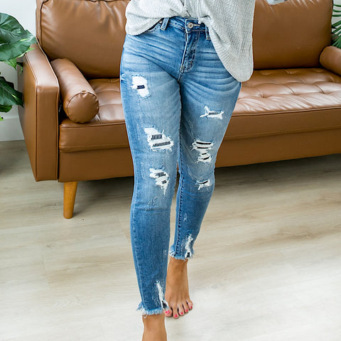 NEW! KanCan Julia Patched Jeans - Regular and Plus
