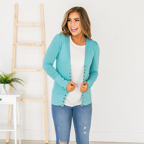 NEW! Mint Snap Cardigan - Arrow Twenty Two