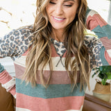 NEW! Estelle Fall Striped Top with Leopard Details - Arrow Twenty Two
