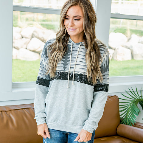 NEW! Bethany Aztec and Sequin Hooded Top