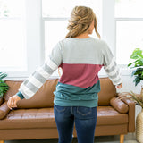 Molly Teal, Berry and Gray Color Block Top - Arrow Twenty Two
