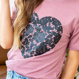 NEW! Black Lace Heart Mauve Tee - Arrow Twenty Two