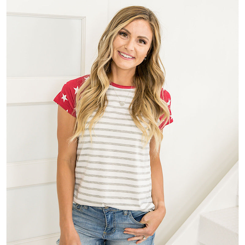 NEW! Red Star and Heather Gray Baseball Top - Arrow Twenty Two