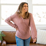 Alexandria Mauve Waffle Sweater with Button Detail - Arrow Twenty Two