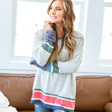 NEW! Sylvia Heather Gray Top with Spring Stripes - Arrow Twenty Two
