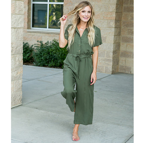 Olive Button Down Jumpsuit - Arrow Twenty Two