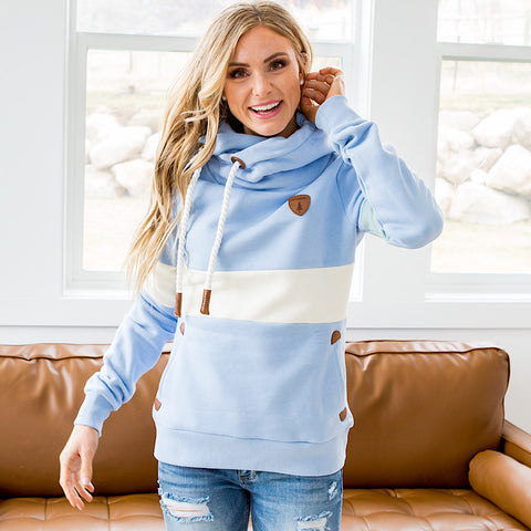 NEW! Wanakome Dasha Blue Hoodie with Cream Stripe Detail
