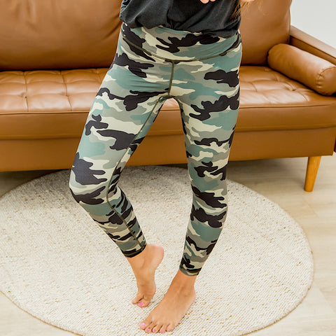 Camo Cropped Sporty Leggings