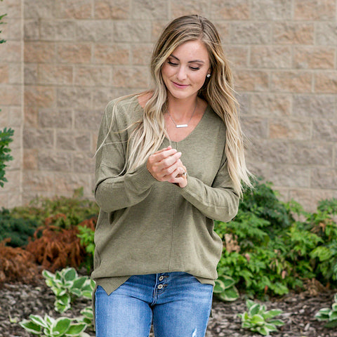NEW! Olive V Neck Sweater - Arrow Twenty Two