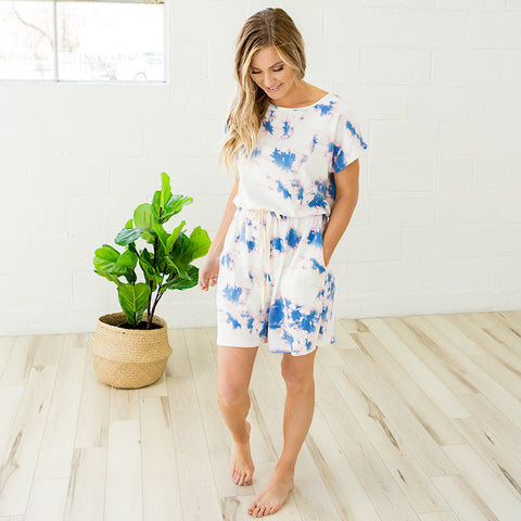 NEW! Pink and Blue Tie Dye Romper - Arrow Twenty Two