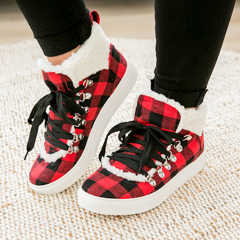 Very G Snuggly Sherpa Lined Bootie - Red Buffalo Plaid