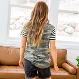 NEW! Julianna Camo Top with Black Striped Sleeves - Arrow Twenty Two
