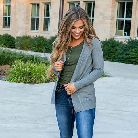 NEW! Favorite Cardigan - Heather Gray