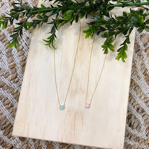 Small Stone Dainty Necklace - Mint or Pink