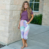 Lauren Purple, Mint and Pink Tie Dye Lounge Capris - Arrow Twenty Two