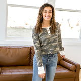 NEW! Remi Camo Button Up Long Sleeve Top - Arrow Twenty Two