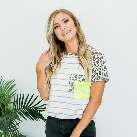 NEW! Heather Gray Striped and Neon Yellow Leopard Top