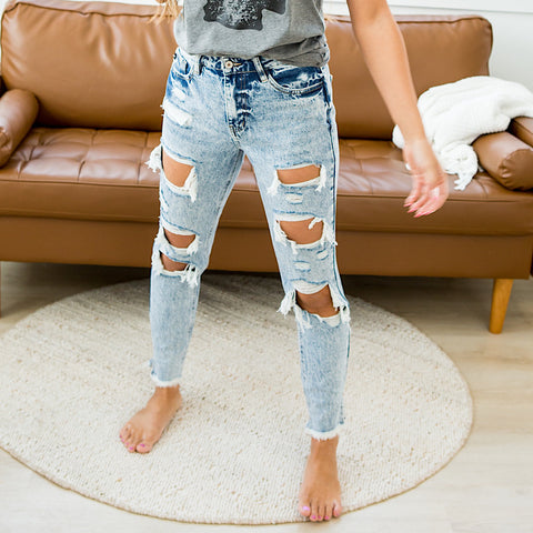 NEW! KanCan Acid Wash Distressed Jeans - Arrow Twenty Two