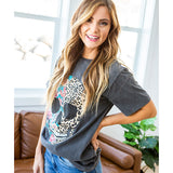 NEW! Vintage Black Floral and Leopard Skull Tee - Arrow Twenty Two