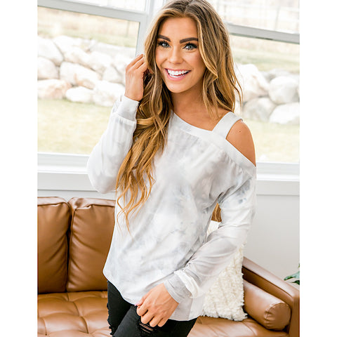 NEW! Gabby Marbled Cold Shoulder Top - Arrow Twenty Two