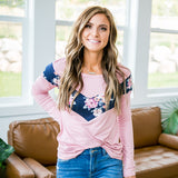 NEW! Eleanor Pink and Navy Floral V Detail Long Sleeve Top - Arrow Twenty Two