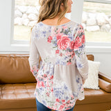NEW! Laurel Taupe Floral Babydoll Top - Arrow Twenty Two