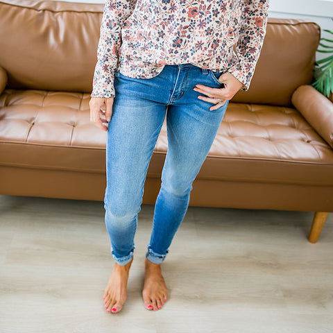 NEW! KanCan Lexi Medium Wash Light Distressed Jeans - Regular and Plus!