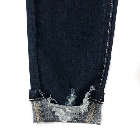 Distressed High Waist Button Up Jeans