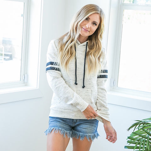 NEW! Jess Oatmeal and Navy Hoodie