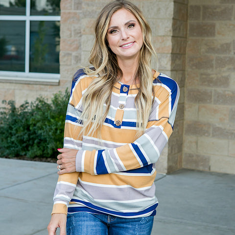 NEW! Tatum Navy and Mustard Striped Button Down Top