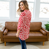 NEW! Karina Red Leopard 3/4 Sleeve Blouse - Arrow Twenty Two